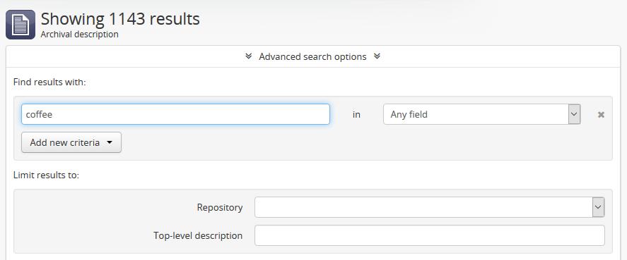 Advanced search   Documentation (Version 2 4)   AtoM: Open