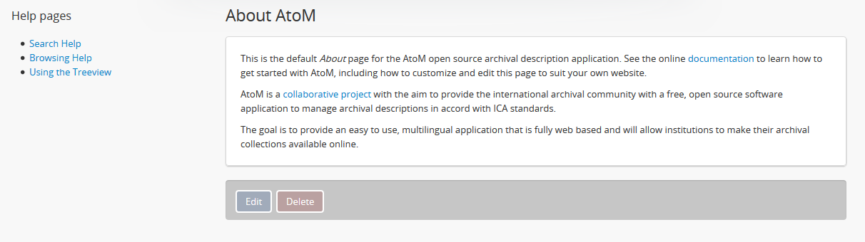 Manage static pages   Documentation (Version 2 4)   AtoM