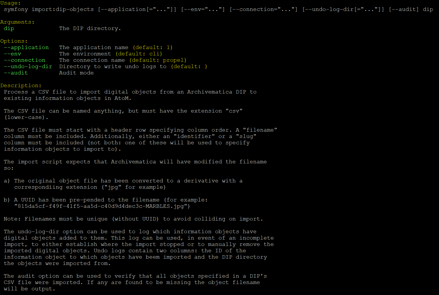 Command line tools   Documentation (Version 2 5)   AtoM: Open Source