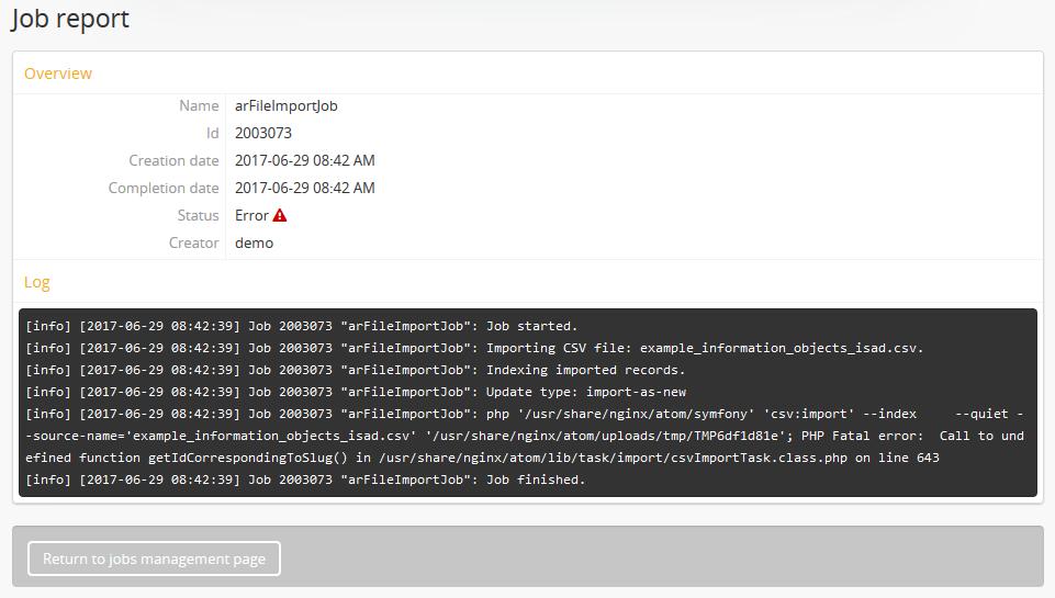 CSV import | Documentation (Version 2 5) | AtoM: Open Source