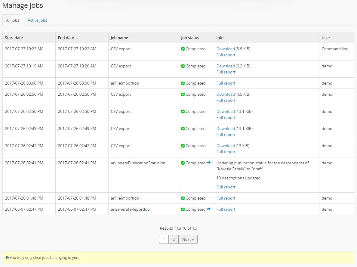 CSV export | Documentation (Version 2 5) | AtoM: Open Source