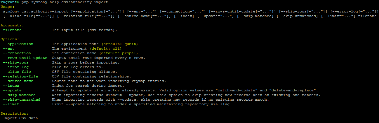 Import and export from the command-line   Documentación