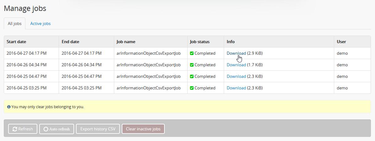 CSV export | Documentation (Version 2 3 1) | AtoM: Open