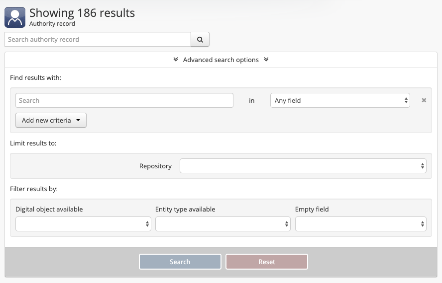 Search | Documentação (Version 2 5) | AtoM: Open Source
